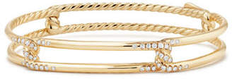 David Yurman 9mm Continuance 18K Gold Bracelet with Diamonds, Size M