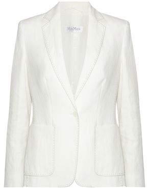 Max Mara Leather-Trimmed Woven Linen Blazer