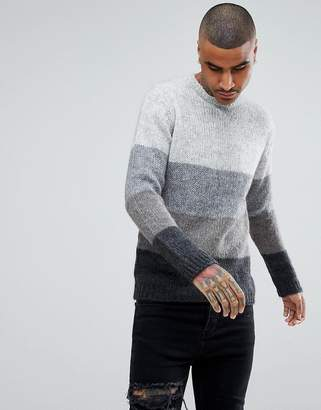 Blend of America ASOS DESIGN ASOS Knitted Mohair Wool Sweater With Color Block Design