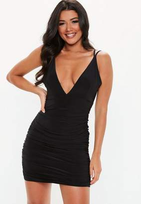 Missguided Black Slinky Cross Back Ruched Side Mini Dress
