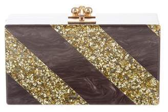 Edie Parker Metallic Striped Jean Clutch Brown