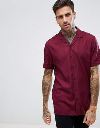 Asos Regular Fit Viscose Shirt With Revere Collar In Burgundy