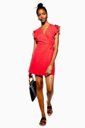 Topshop Ruffle Wrap Dress with Linen