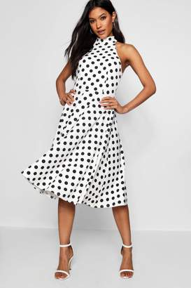 boohoo Polka Dot High Neck Midi Dress