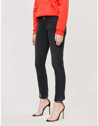 Givenchy Leather-trimmed skinny mid-rise jeans