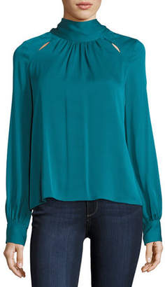 Milly Simona Tie-Neck Stretch-Silk Blouse