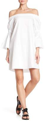 Tibi Off-the-Shoulder Bell Sleeve Dress