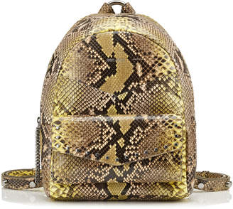 Jimmy Choo CASSIE Soft Yellow and Rosewater Painted Python Backpack with Silver Round Stud Detailing