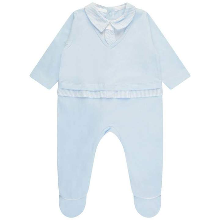 FirstBoys Pale Blue Layered Look Babygrow