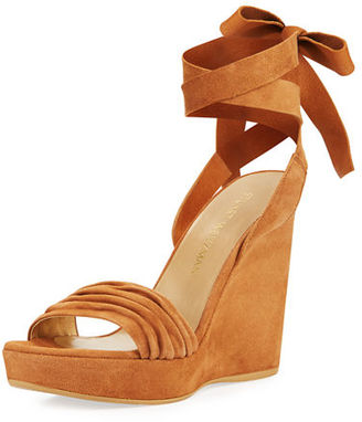 Stuart Weitzman Swiftsong Suede Ankle-Wrap Wedge Sandal $425 thestylecure.com