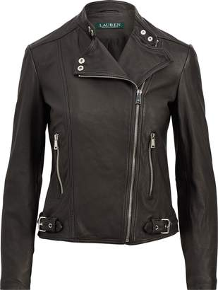 Ralph Lauren Burnished Leather Biker Jacket