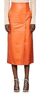 Lanvin Women's Leather Midi-Skirt-Orange