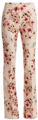Giambattista Valli Anemone Print Kick Flare Silk Cady Trousers - Womens - Pink Print