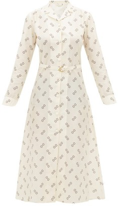 Giuliva Heritage Collection The Clara Geometric Print Cotton Blend Shirtdress - Womens - Ivory Multi