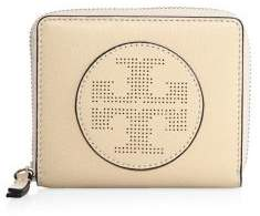 Tory Burch Tory Burch Perforated Logo Medium Leather Zip Wallet