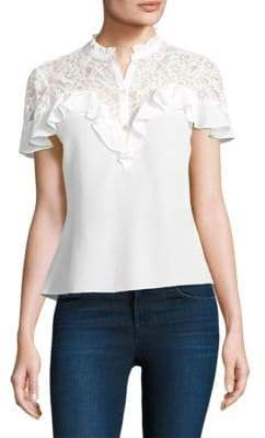 Rebecca Taylor Silk-Blend Lace Top