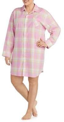 Lauren Ralph Lauren Plus Plaid-Print Cotton Sleepshirt