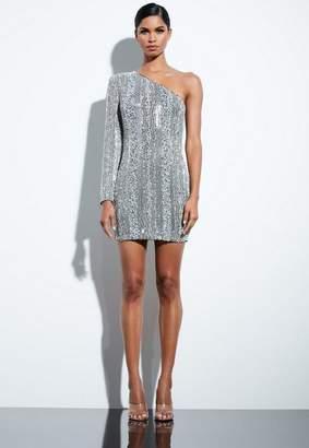Missguided Silver Embellished Sequin One Shoulder Dress