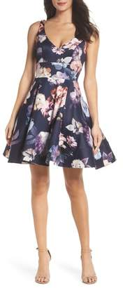 Xscape Evenings Floral Print Fit & Flare Dress