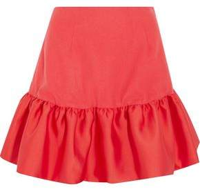 Paper London Acere Fluted Wool-Blend And Satin-Twill Mini Skirt