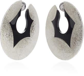 Arunashi One-Of-A-Kind Titanium And Onyx Disc Hoop Earrings