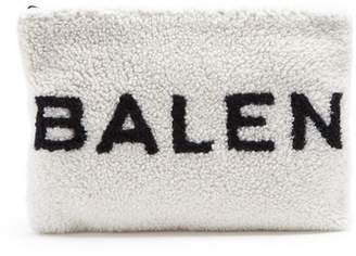 Balenciaga Shearling Pouch - Womens - White Black
