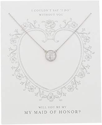 """clear Sterling Silver Cubic Zirconia Pave Disc """"Be My Maid of Honor"""" Gift On Sentiment Card Necklace"""