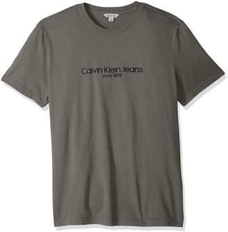 Calvin Klein Jeans Men's Short Sleeve T-Shirt Old School Logo Crew Neck