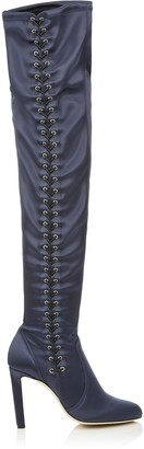 Jimmy Choo MARIE 100 Navy Satin Over the Knee Boots