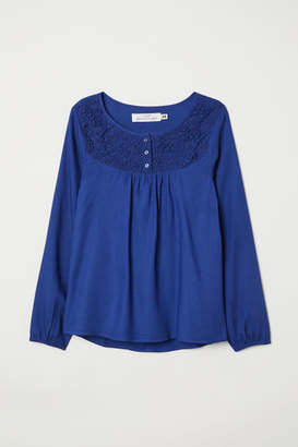 H&M Blouse with Lace Yoke - Blue