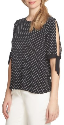 Women's Cece Tie Sleeve Mixed Media Top $59 thestylecure.com