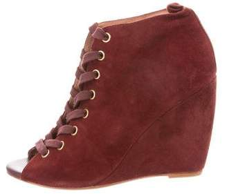 Joie Suede Lace-Up Wedges