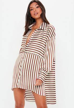 Missguided White Striped Oversized Satin Shirt Dress
