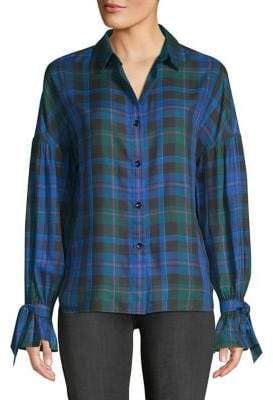 Highline Collective Plaid Tie-Sleeve Button-Down Shirt