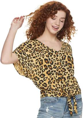 Grayson Threads Juniors' Knotted Front Animal Print Top