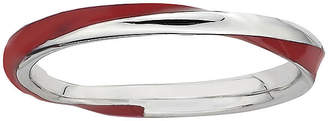 FINE JEWELRY Personally Stackable Sterling Silver Twisted Red Enamel Ring