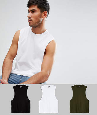 Asos Relaxed Vest With Dropped Armhole 3 Pack Save