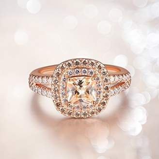 Gold Plated Sterling Silver Cushion Cut Champaign Cubic Zirconia 6mm Double Halo Ring