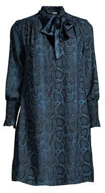 Rebecca Taylor Snake Print Bow Collar Dress