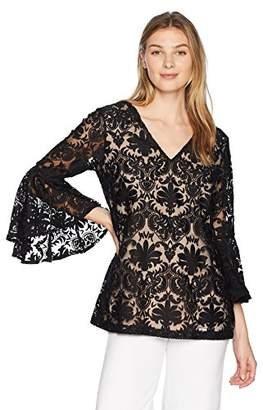 MSK Women's Exaggerated Bell Sleeve Cocktail Blouse with Lace Motif