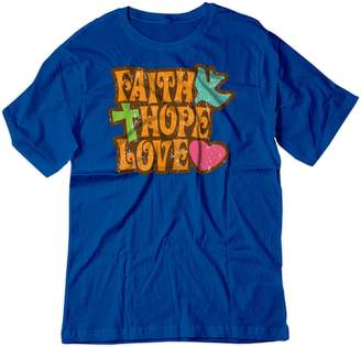 BSW Men's Faith Love Hope Spiritual Religion Positive Shirt 5XL