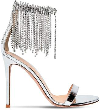 Gianvito Rossi 100mm Fringed Metallic Leather Sandals