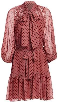 Zimmermann Eye Spy Polka Dot Tie-Neck Mini A-Line Dress