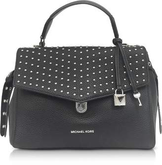 Michael Kors Bristol Black Studded Leather Top Handle Satchel Bag