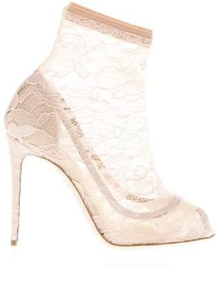Dolce & Gabbana Taormina Apricot Lace & Satin Ankle Boots