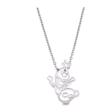 Disney White Gold Plated Olaf Outline Necklace