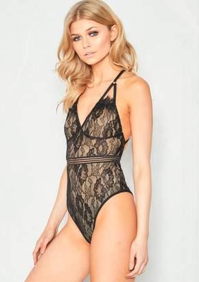 ccb19c2a2e Missy Empire Missyempire Isla Black Lace Harness Bodysuit
