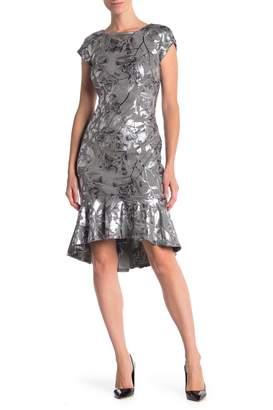 ECI Short Sleeve Peplum Hem Dress