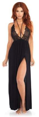 Leg Avenue Women's Brushed Jersey and Lace Gown Halter Harness Sexy Nightie Sleepwear, Black, Medium