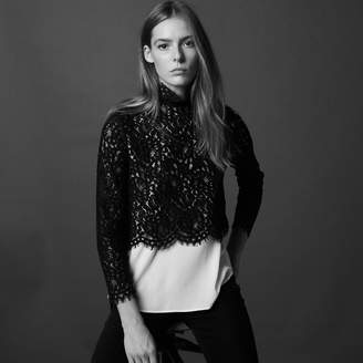 Sandro Two-tone lace top